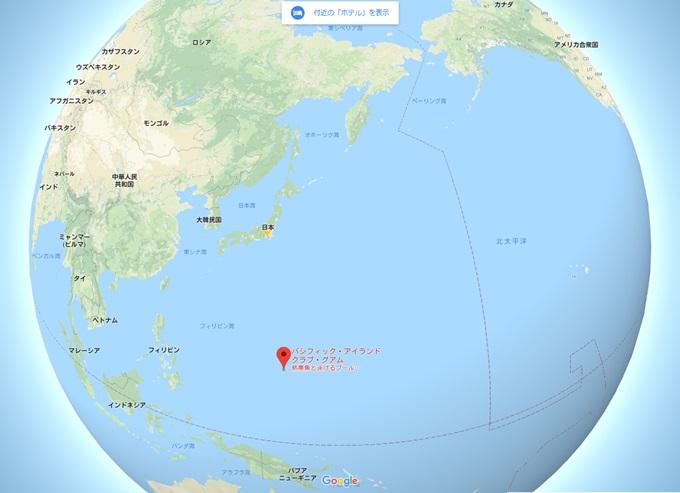 世界地図 グアムの位置