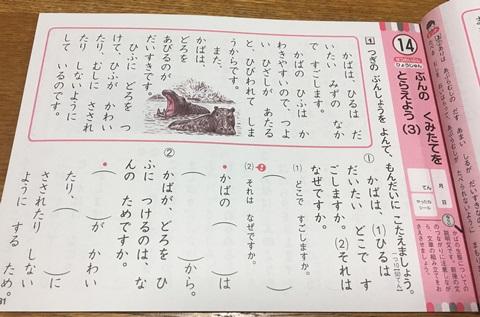 小学1年の文章読解ドリル