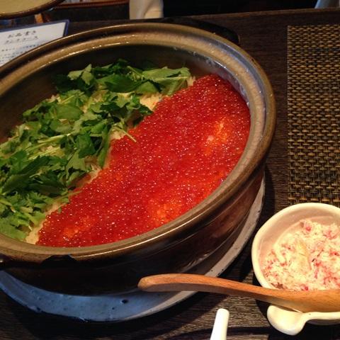 カニ・いくら釜炊きご飯とお出汁
