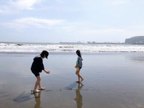江ノ島海岸で貝拾い